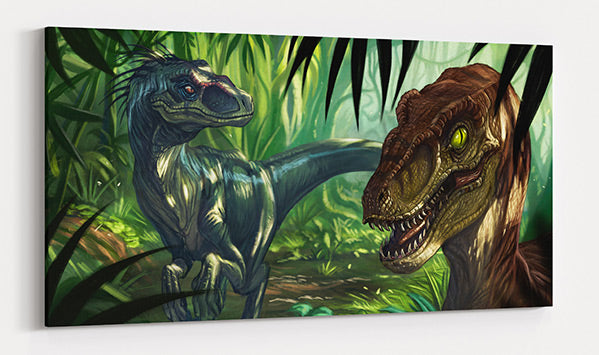 CRETACEOUS HUNTERS, canvas art in room. Velociraptor quietly hunt in shaded jungle.