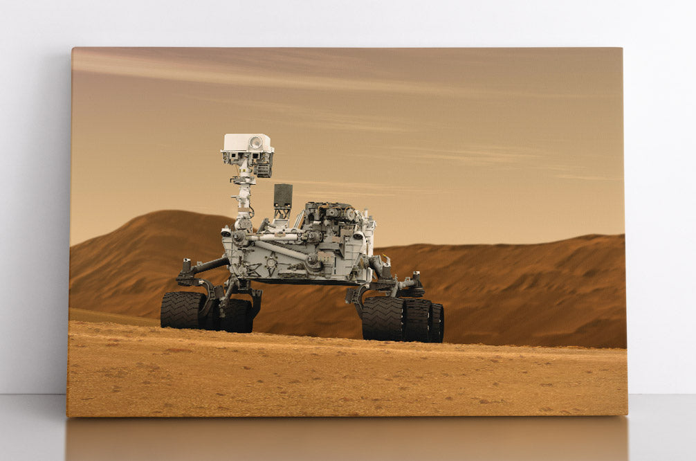 The Curiosity Rover on planet Mars, illustration. Canvas wall art in room.