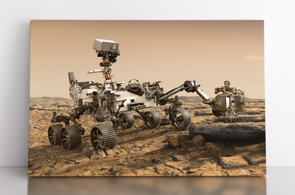 The Curiosity Mars rover at work, using its tools & scientific instruments, illustration. Canvas wall art in room.