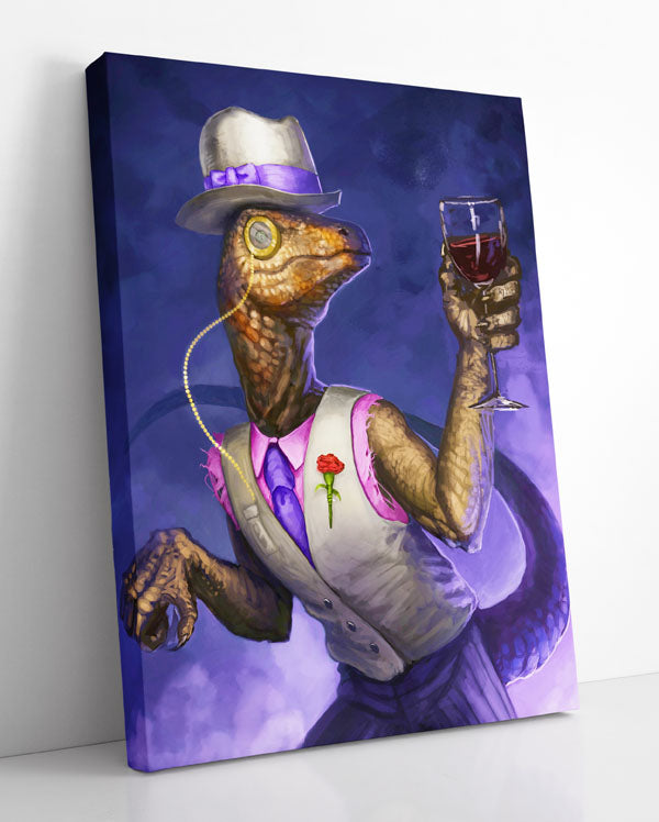 """""""Dapper Velociraptor,"""" canvas wall art featuring a classy dinosaur wearing a tuxedo and holding a wine glass."""