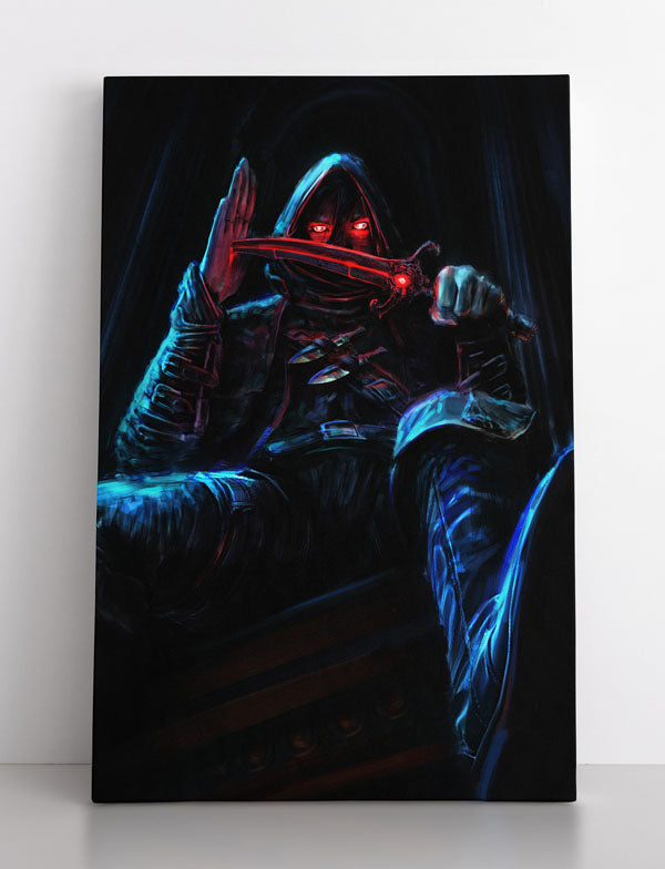 Dark, evil assassin with glowing red eyes wearing hood holds dagger. He pierces his hand with it, as if it's a Satanic ritual. Canvas wall art in room.