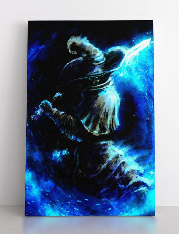 Dark wizard warrior holds frozen, icy sword. He stands ready for battle. Canvas wall art in room.