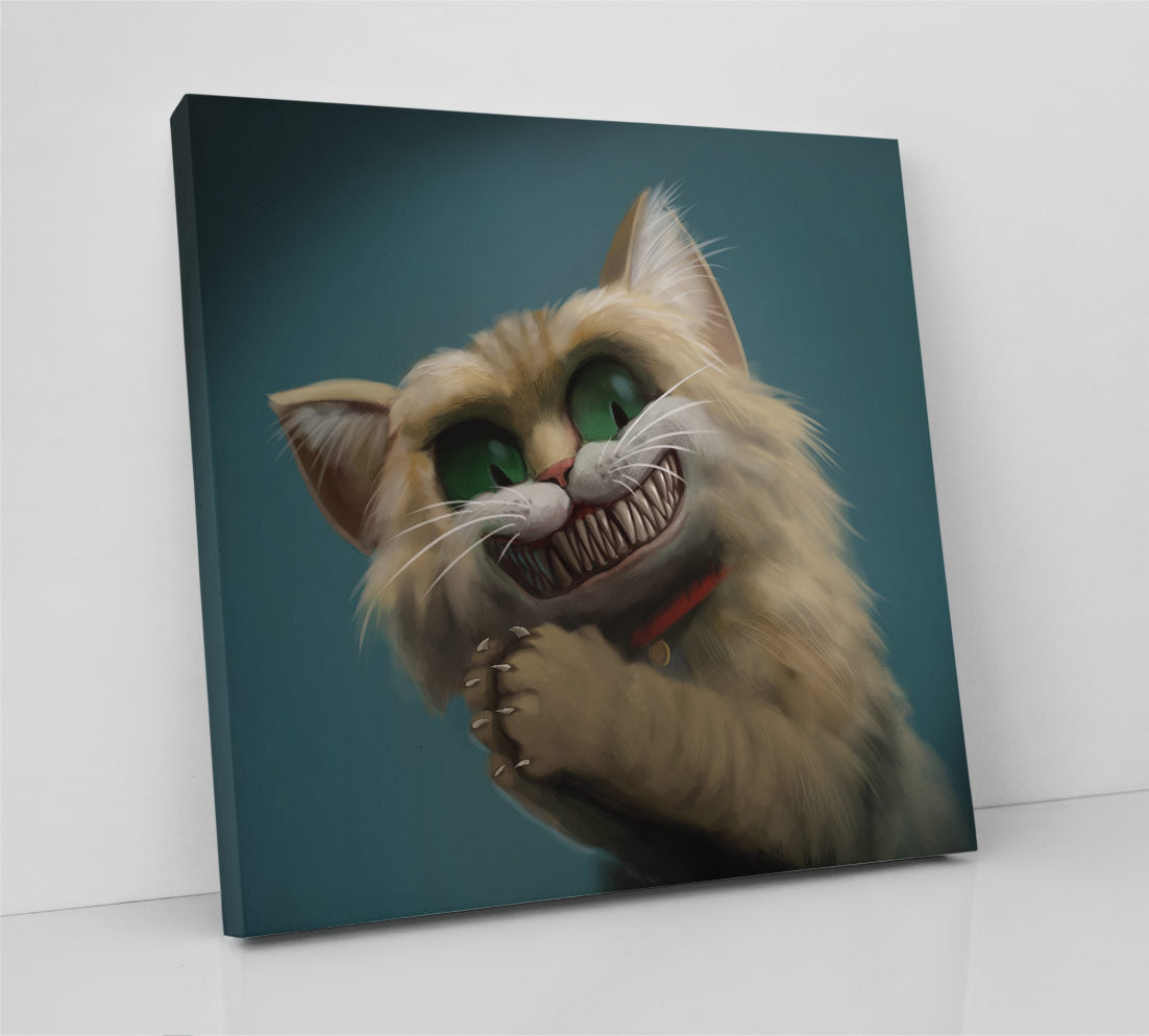 A diabolical cat smiles, showing his sharp teeth, rubbing his hands together and appearing pleased with the results of his evil plan. Canvas wall art in room.