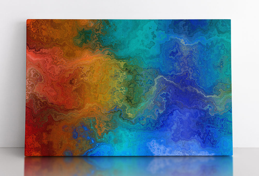 DIFFUSION, canvas art in room. Abstract artwork featuring red-orange current flowing into cool blue area.