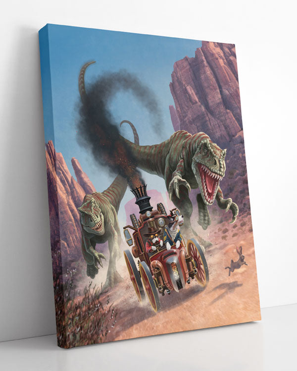 DINOQUEST, canvas art in room. T-rex dinosaurs chase dogs driving steampunk car through canyon.