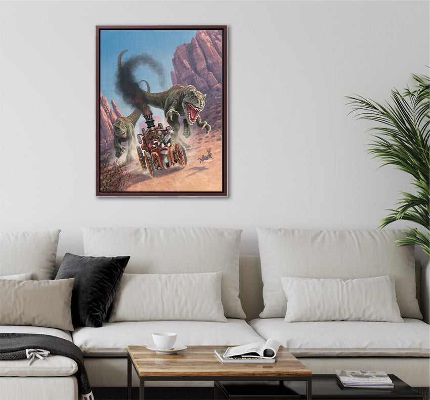 Dinosaurs chase steampunk dogs in car through desert canyon, framed canvas wall art in living room.