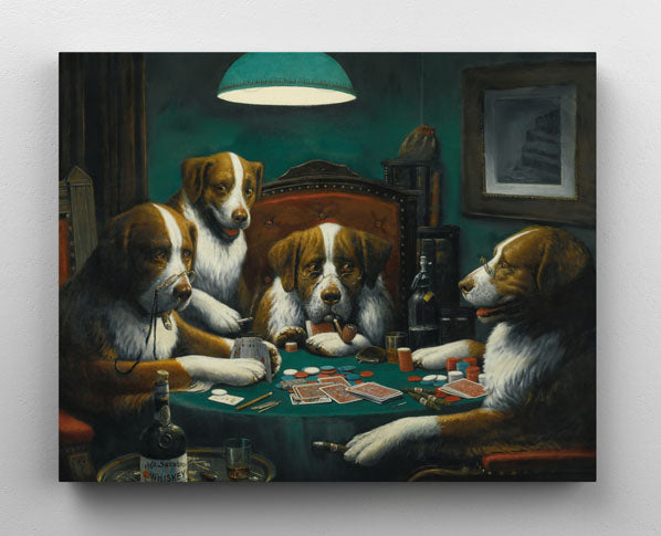 """""""Dogs Playing Poker"""", canvas wall art hanging in room."""