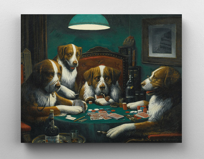Dogs playing poker, canvas wall art in room.