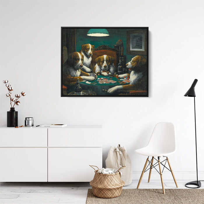 Dogs playing poker, framed canvas wall art in lounge room.