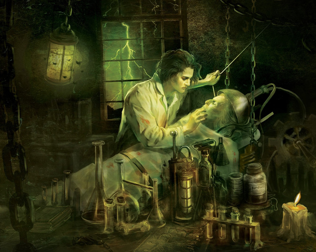 Dr. Victor Frankenstein creating his monster in his laboratory