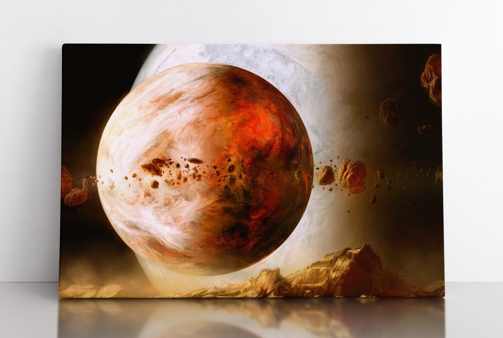 DUALITY, canvas art in room. Hot moons orbiting gigantic parent planet.