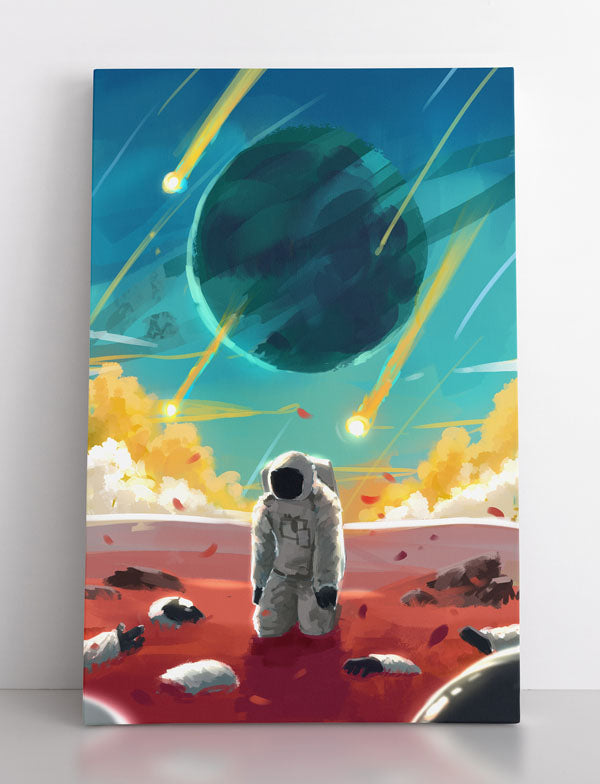 """""""Exoplanet Apocalypse"""", canvas wall art in room."""