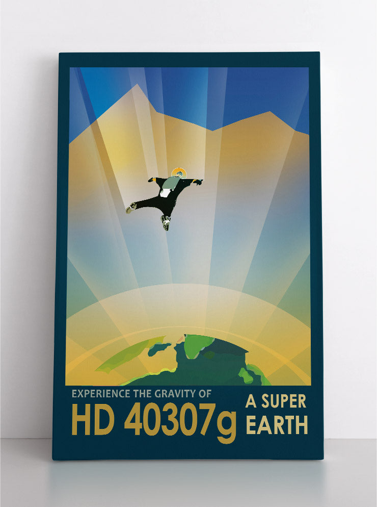 Funny space travel ad encouraging us to skydive on exoplanet. Canvas wall art in room.
