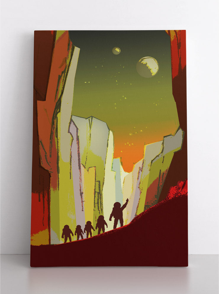Astronauts on planet Mars explore, colorful painting with moons Phobos & Deimos in background. Canvas wall art in room.