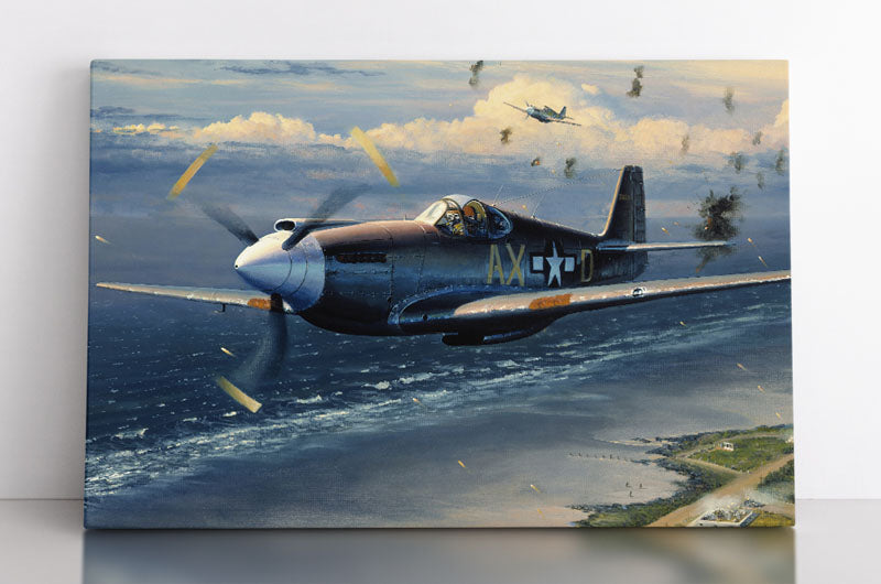 A fighter plane flies above Normandy during World War II with gunfire and anti-artillery explosions all around. Canvas wall art in room.