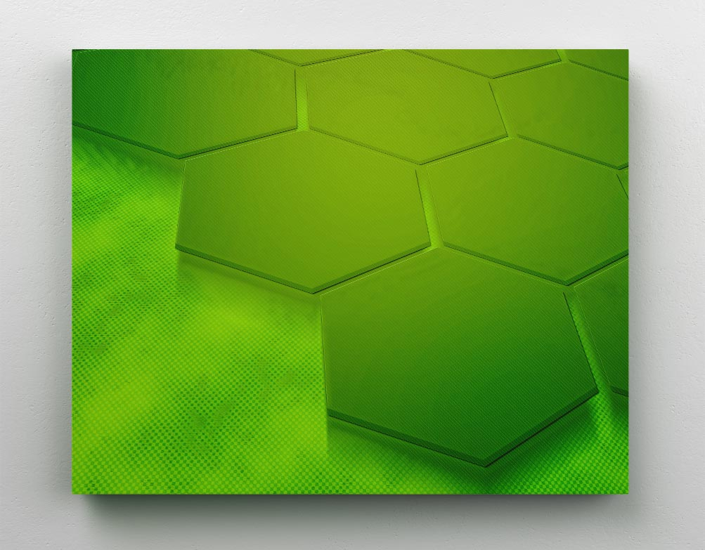 Geometric, lime green, 3D metallic hexagons in honeycomb pattern. Canvas wall art in room.