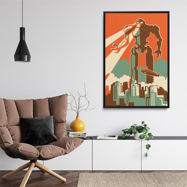 """Giant Doomsday Robot"", framed canvas art in lounge room."