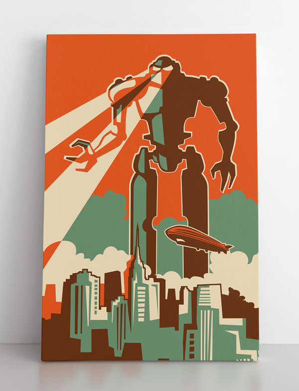 Canvas wall art in room, featuring a gigantic, towering robot destroying a city by shooting lasers out of his eyes. Has a retro, 1950s feel to it.