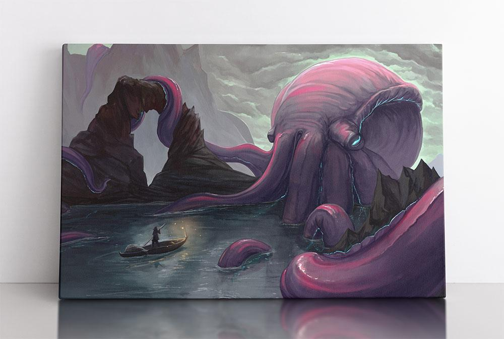 Giant purple octopus blocks fisherman in small boat. Canvas wall art in room.