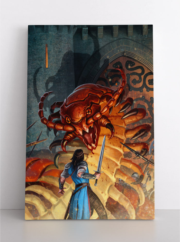 Enormous, scary, orange centipede-like creature battles warriors with swords & spears in front of castle. Canvas wall art in room.