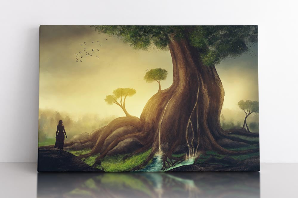 Giant tree next to flowing river in fantasy landscape scene. Canvas wall art in room.