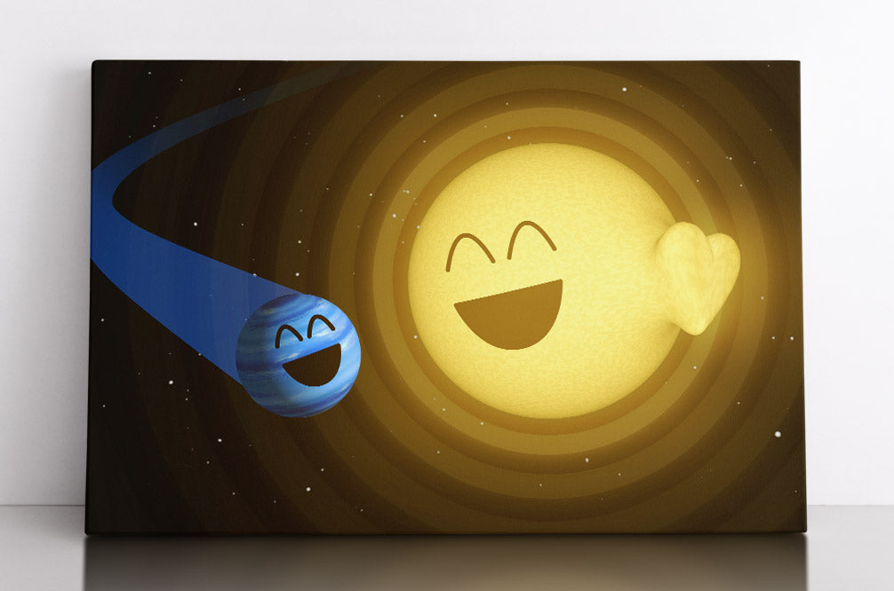 Happy pulsar star system in outer space with orbiting planet friend. Canvas wall art in room.