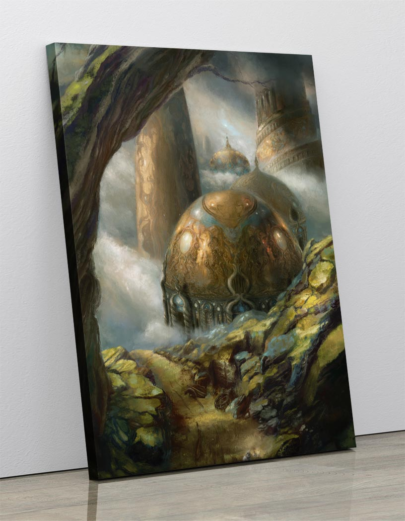 A fantasy landscape painting of a misty forest containing a hobbit village comprised of earthen huts. Canvas wall art in room.