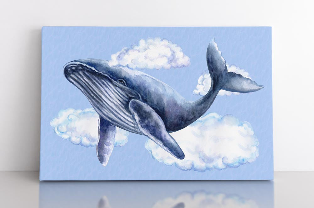 HUMPBACK, canvas art in room. Humpback whale floats through clouds.