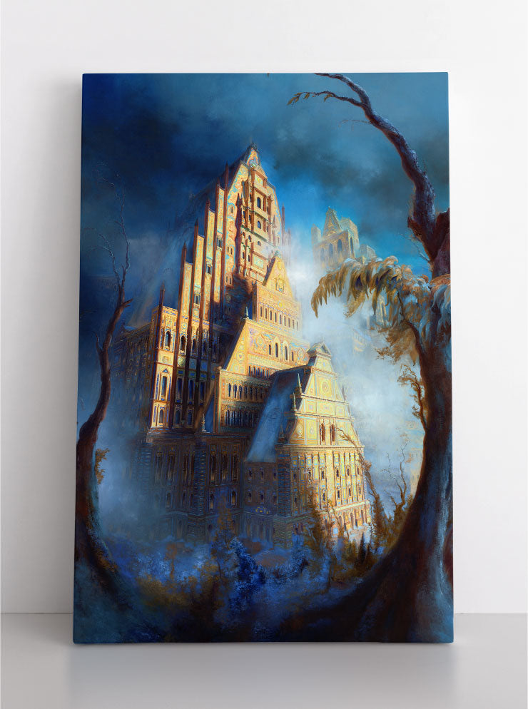 Fantasy digital painting of an icy, snow-covered castle surrounded by bare trees. Canvas wall art in room.