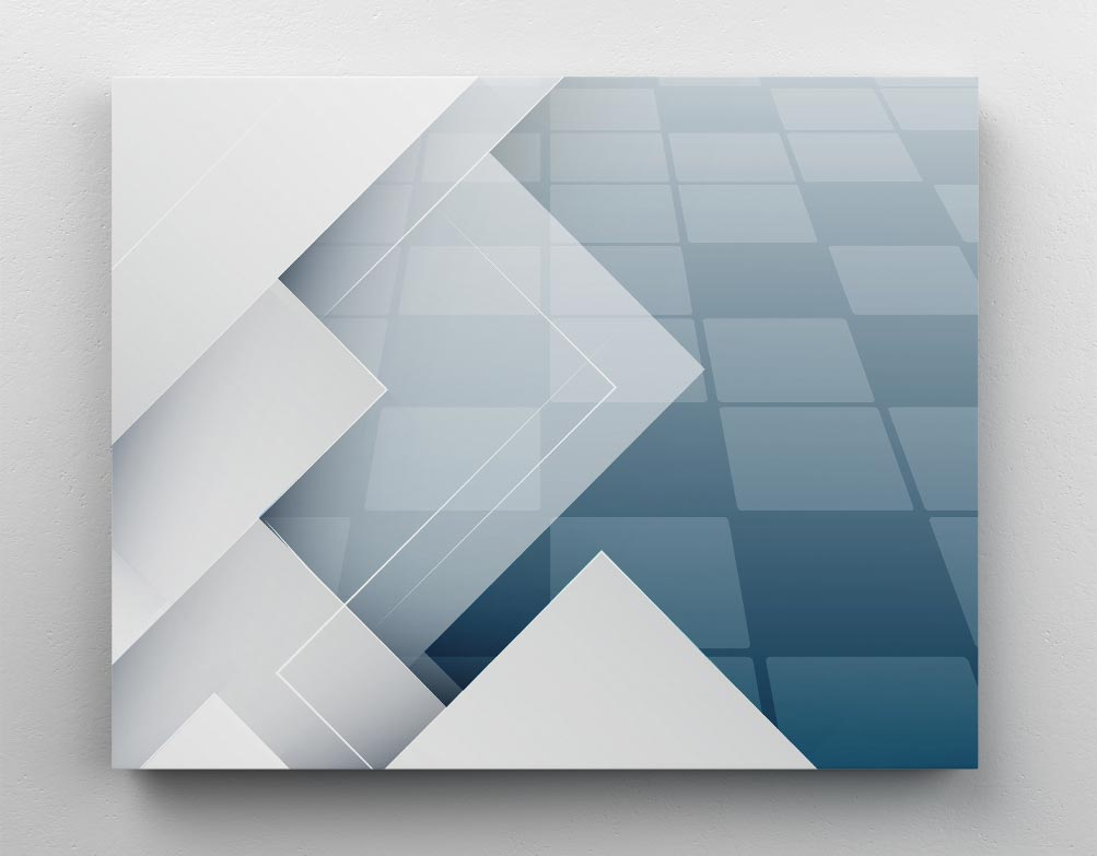 INCURSION, canvas art in room. This abstract, geometric piece features a transparent, rectangular formation atop a pale, blue-gray checkboard.