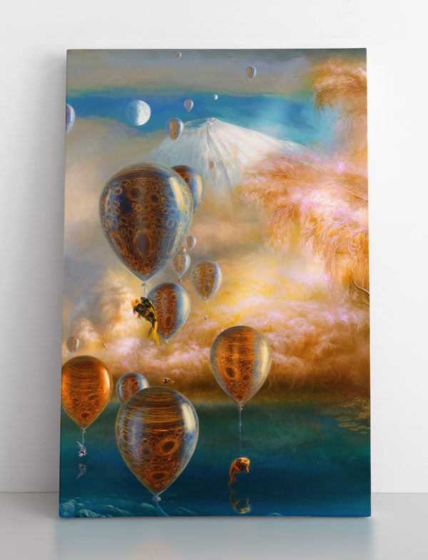 Koi fish attached to balloons float away towards a large mountain in the distance. Canvas wall art in room.