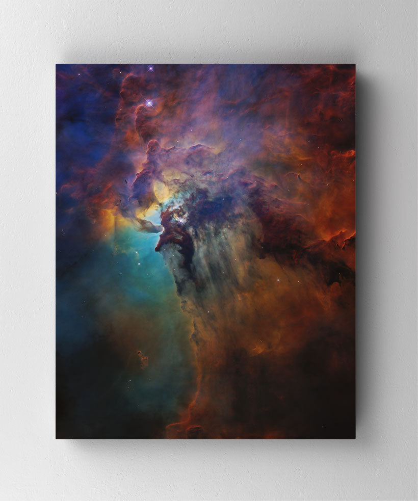 The Lagoon Nebula, Hubble Space Telescope image. Canvas wall art in room.