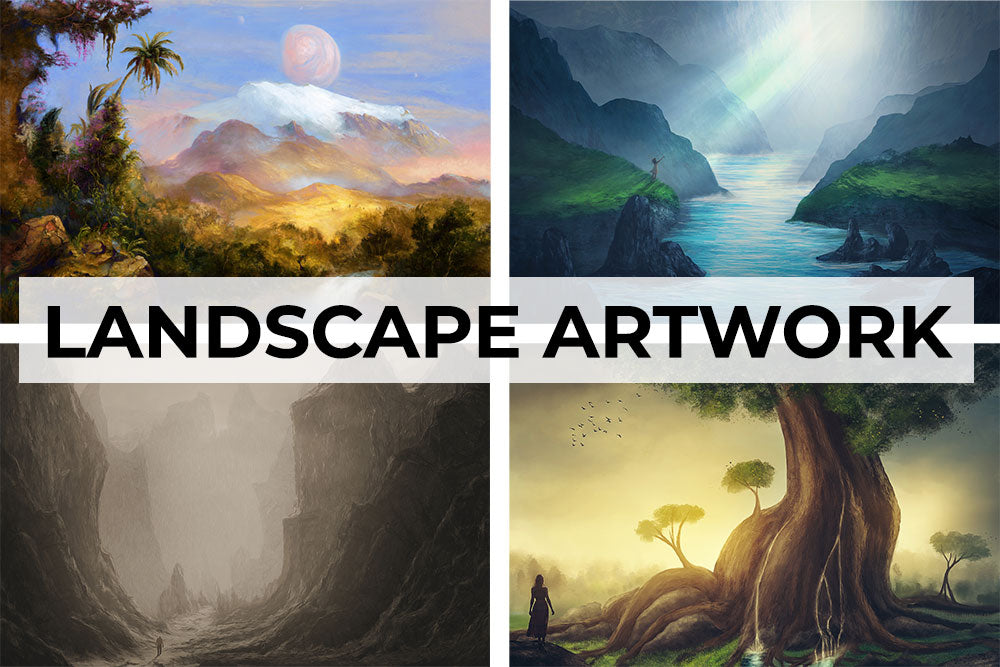 Landscape fantasy artwork collection. Canvas wall art category.