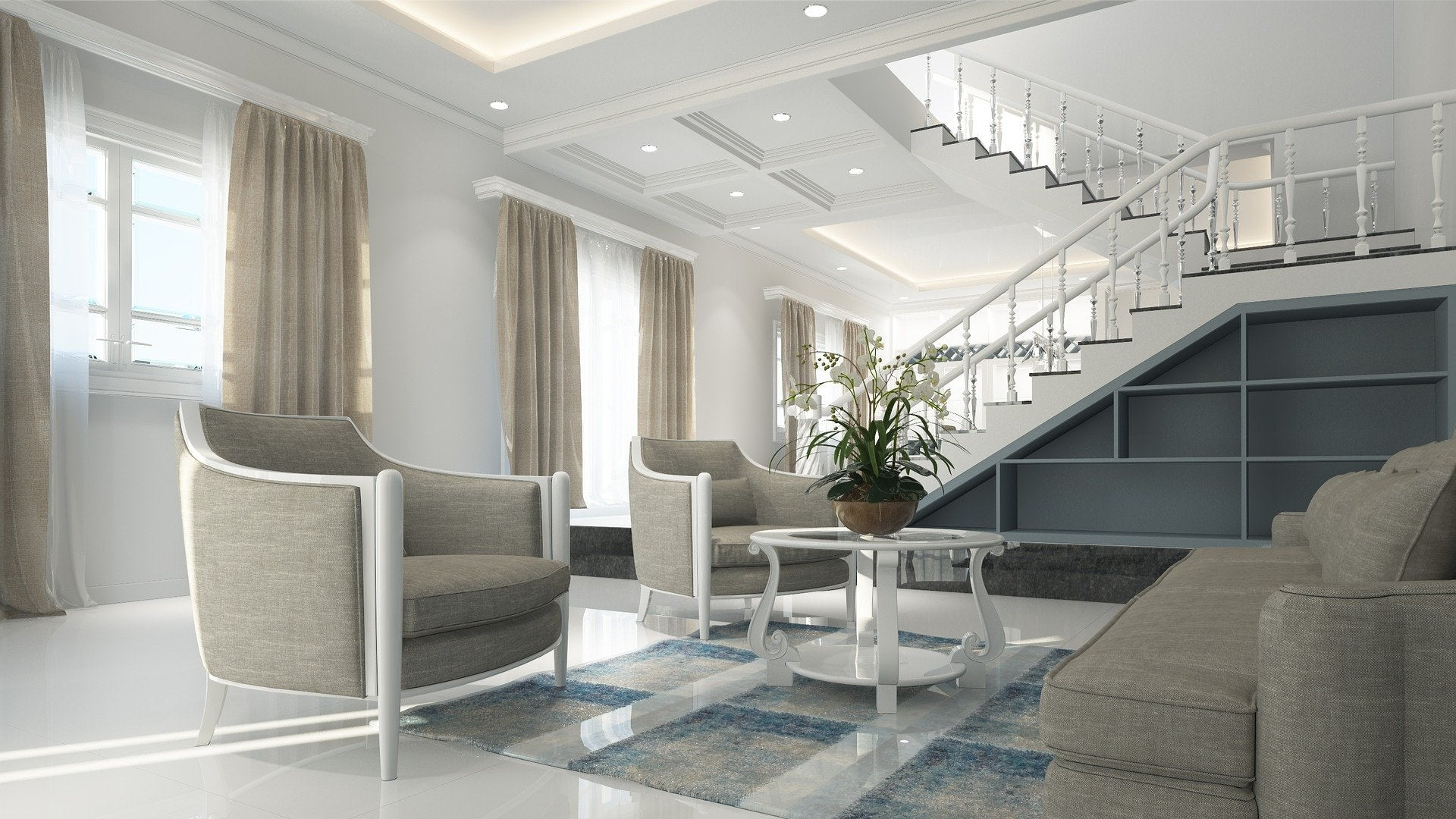 Living room interior design with lots of space between furniture.