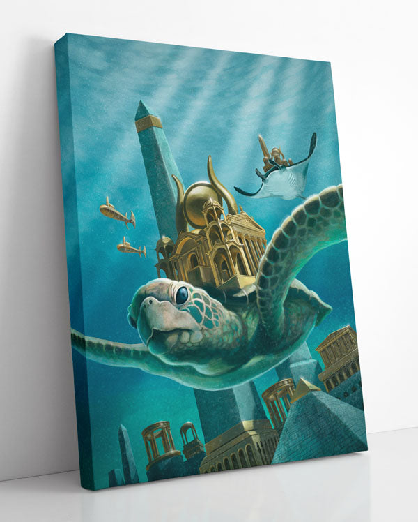 Giant sea turtle swims through gilded, lost city of Atlantis. Canvas wall art in room.