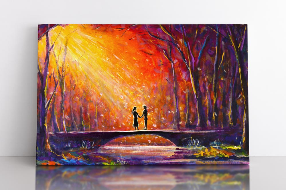 LOVERS BRIDGE, canvas art in room. Lovers hold hands on bridge in rainbow forested landscape scene.