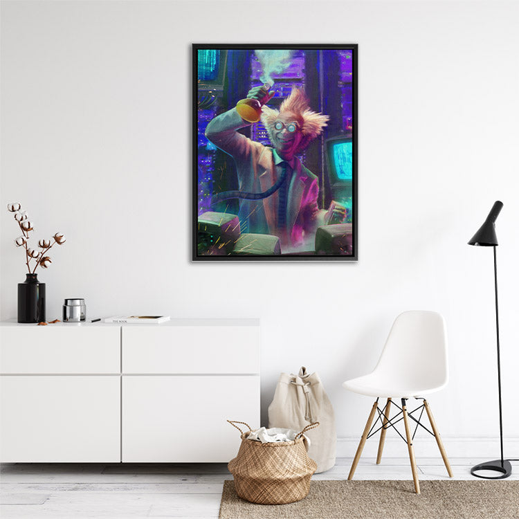 """""""Mad Scientist"""", evil genius in laboratory, framed canvas art in bright room."""