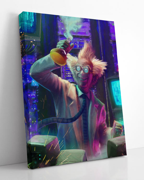 Canvas wall art in room, featuring a mad scientist in an evil laboratory victoriously lifting up a beaker full of chemicals.