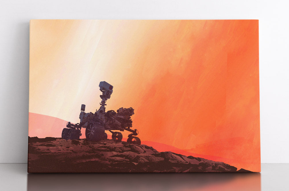 Mars Rover Perseverance on The Red Planet, on rock formation with orange background. Canvas wall art in room.