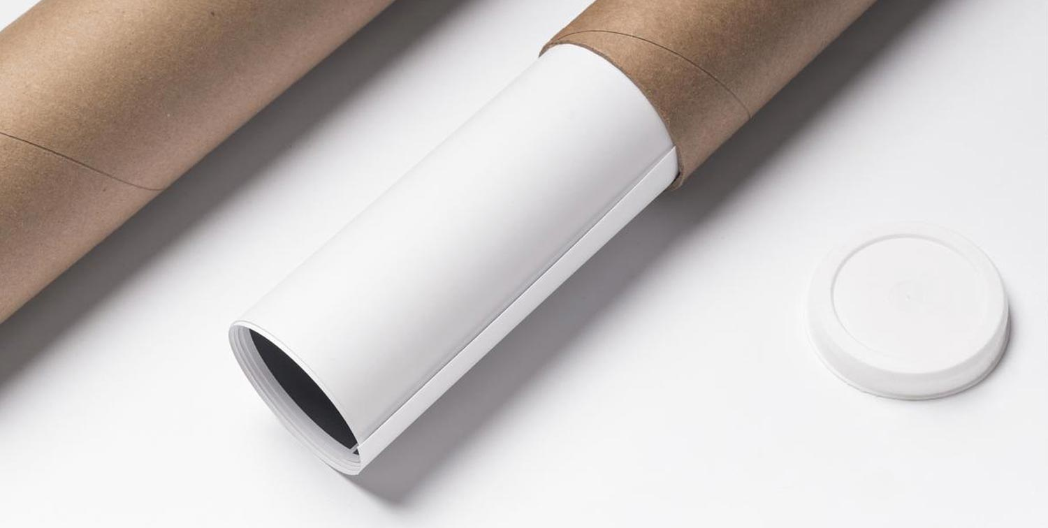 Matte poster in packaging tube.