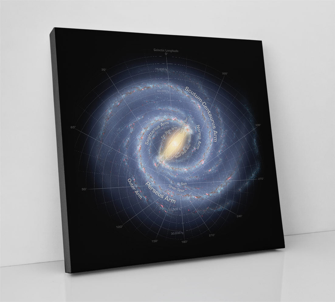 The Milky Way Galaxy, shown as a map with labels of key features. Canvas wall art in room.