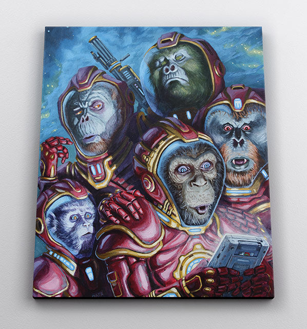 """""""Monkey Astronaut Gamers"""", canvas wall art in room."""