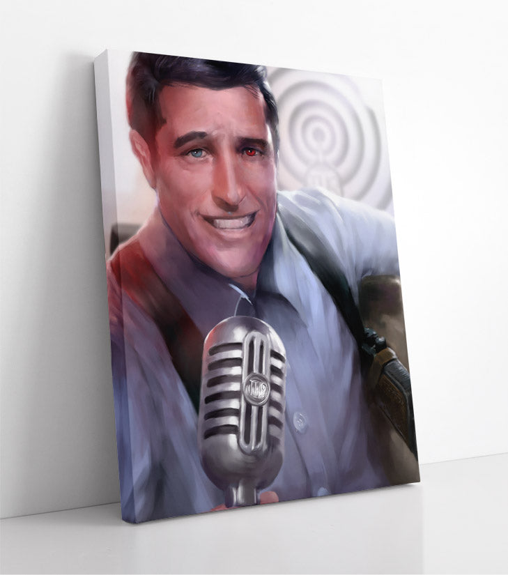 Hypnotic, old-fashioned radio host with multi-colored eyes. Canvas wall art in room.