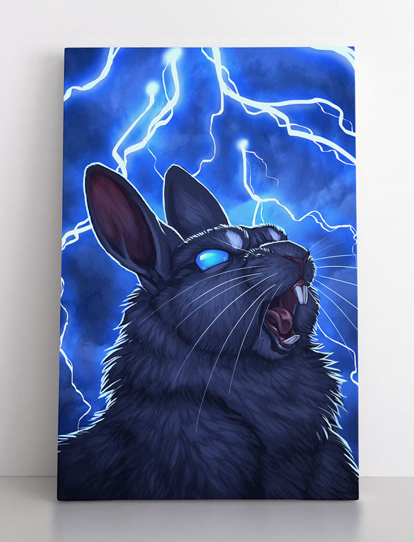 """""""Mr. Fluffy: The Evil Rabbit"""", canvas wall art in room."""
