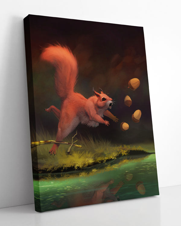 MY ACORNS!, canvas art in room. Clumsy squirrel drops acorns into water after tripping over twig.
