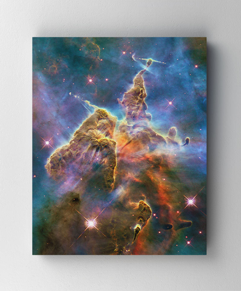 Mystic Mountain Nebula, Hubble Space Telescope image. Canvas wall art in room.
