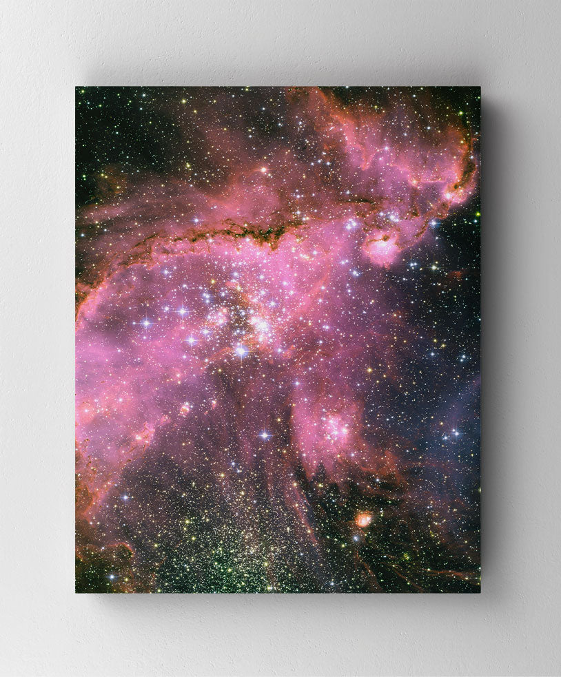 Open Star Cluster NGC 346, Hubble Space Telescope image. Canvas wall art in room.