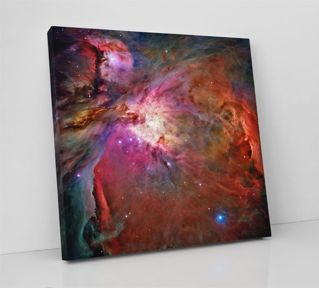 The colorful Orion nebula (M42), Hubble Space Telescope image. Canvas wall art in room.