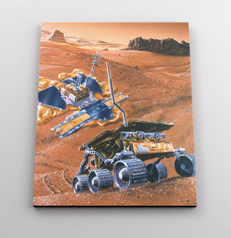Illustration of Pathfinder and the Sojourner Rover on planet Mars, with Martian landscape in background. Canvas wall art in room.