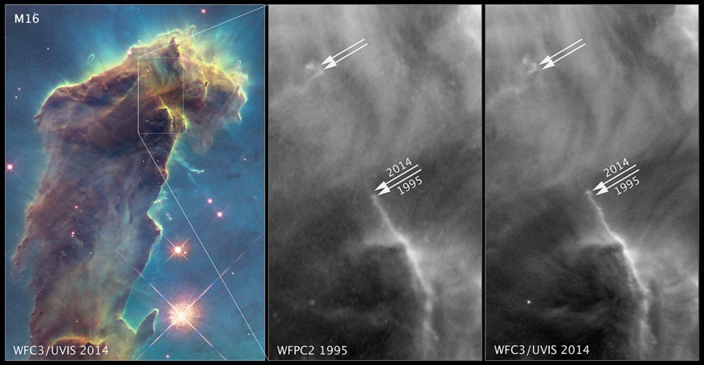 Pillars of Creation changes between 1995 and 2014, Hubble Telescope images.